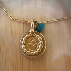 Satya gold lotus necklace with turquoise bead. 18""